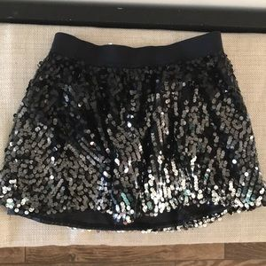 Girls Justice black and silver sequin skirt